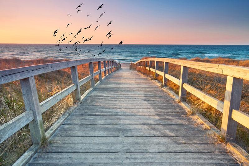Sylter Strandaufgang mit Holzsteg, Entspannung, Wellbeing