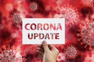 Schild mit der Aufschrift Corona-Update